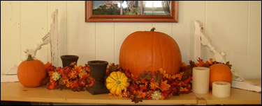 Fall Decor with Wooden Brackets